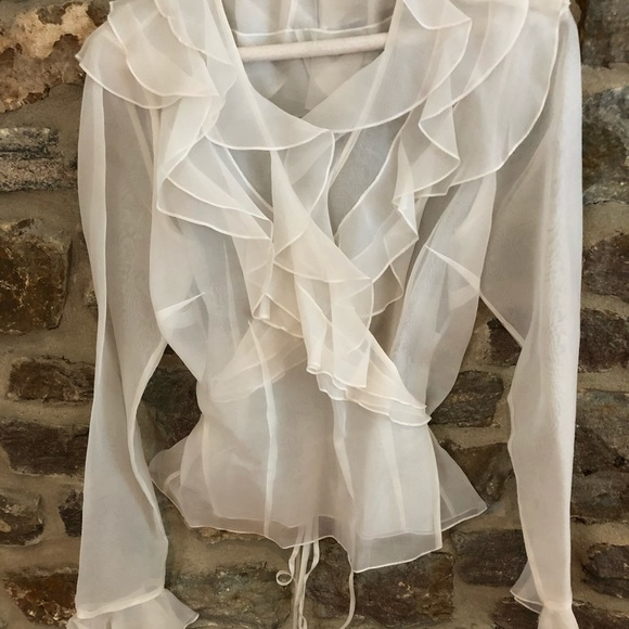 7e21cfe0fcc Kay Unger Tops - Kay Unger (New York)   White Cheer Ruffle Blouse
